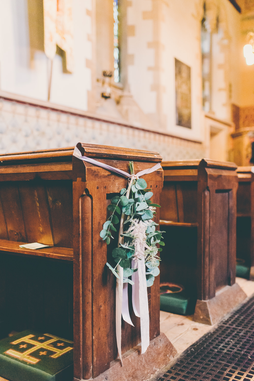 Pew End Aisle Flowers Greenery Foliage Ribbon High Billinghurst Farm Wedding Larissa Joice Photography