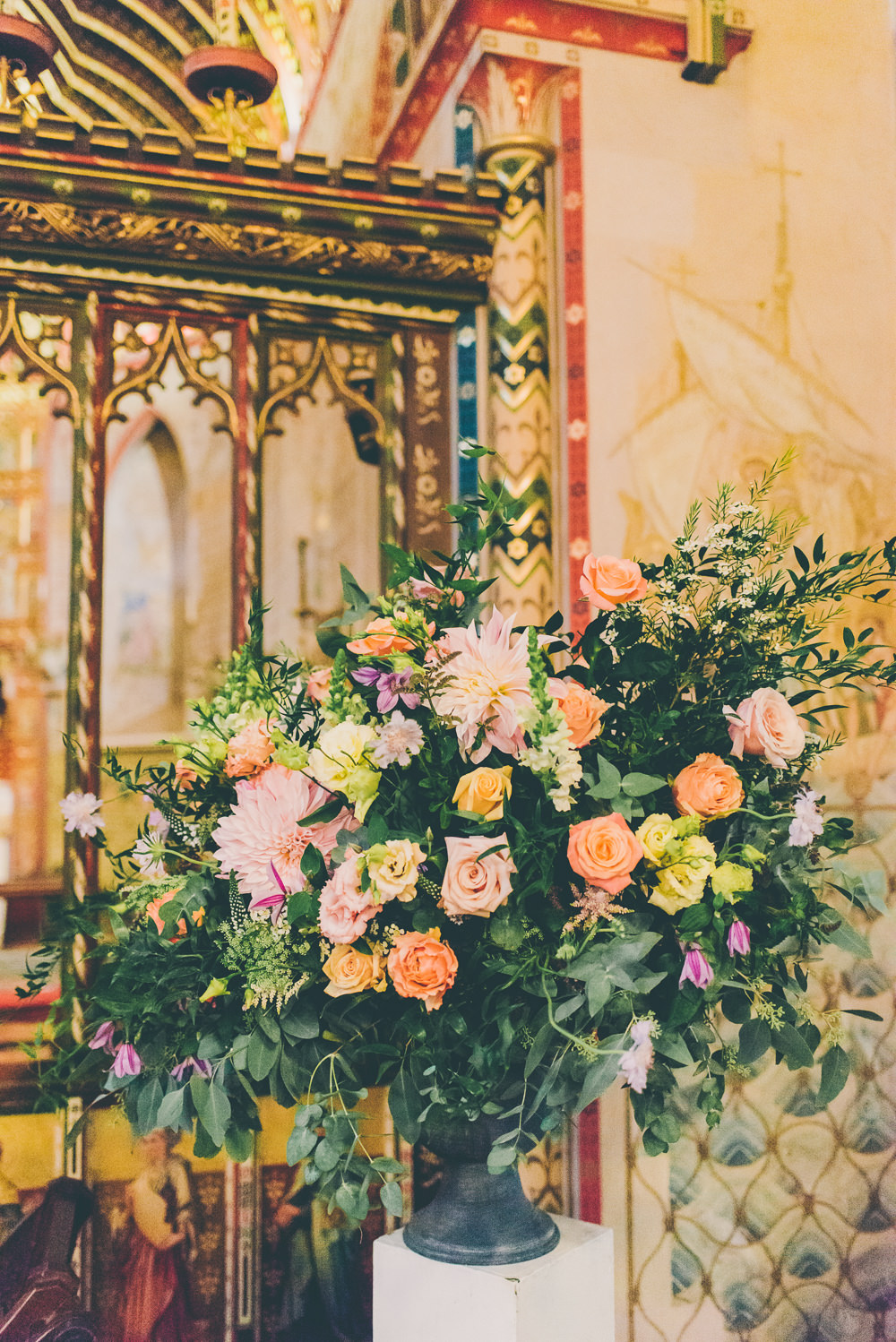 Church Flowers Ceremony Arrangement Floral High Billinghurst Farm Wedding Larissa Joice Photography