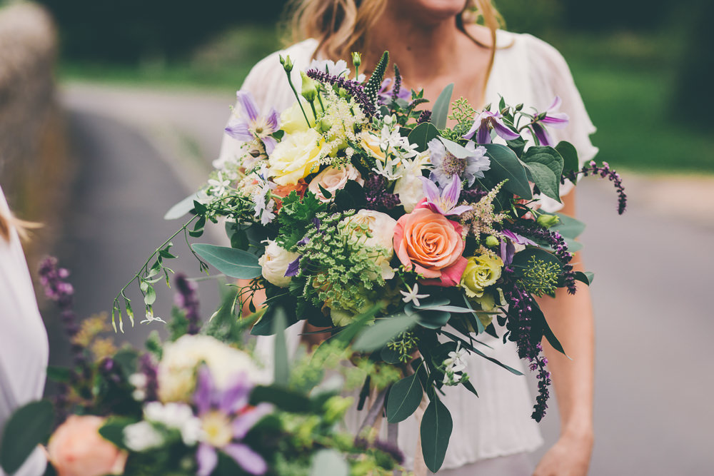 Bouquet Flowers Bride Bridal Peach Purple Rose High Billinghurst Farm Wedding Larissa Joice Photography