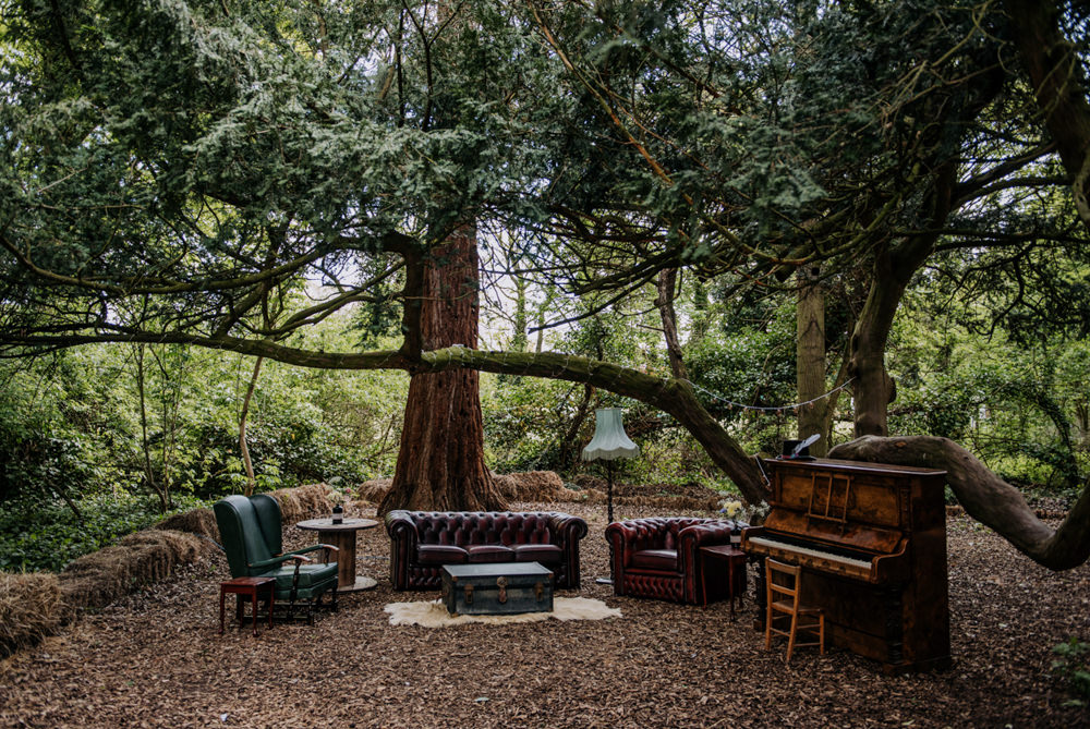 Outdoor Seating Woodland Sofas Hirst Priory Wedding Kazooieloki Photography