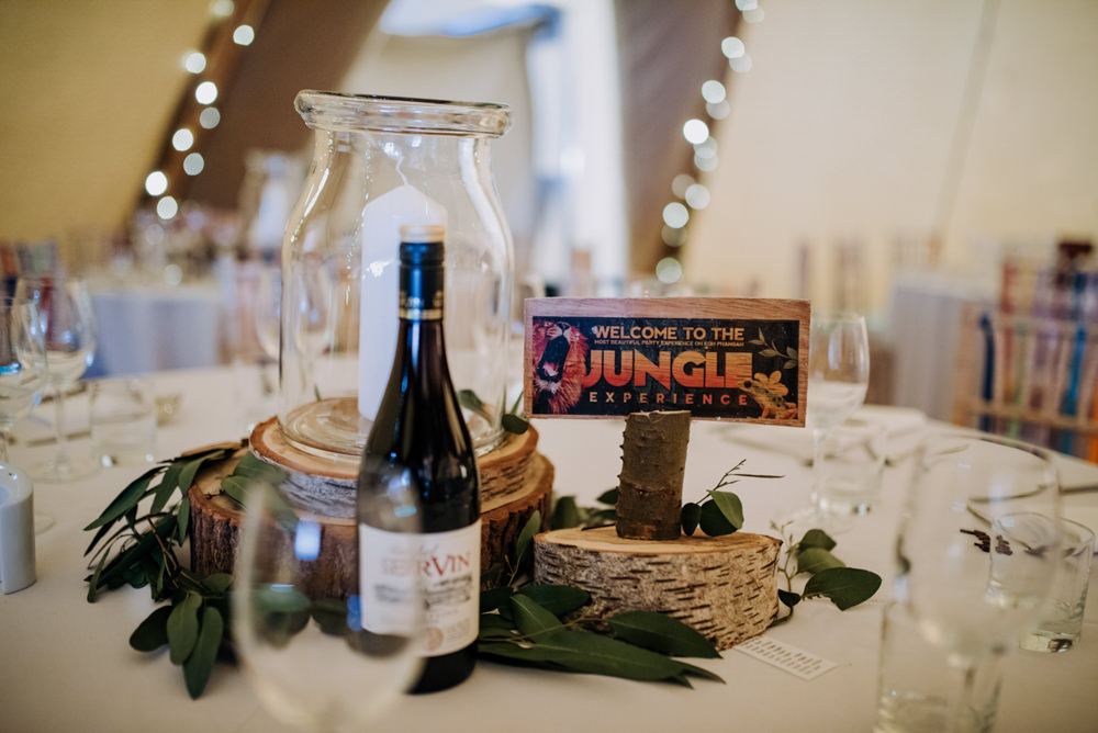 Table Decor Centrepice Log Slice Candle Hirst Priory Wedding Kazooieloki Photography