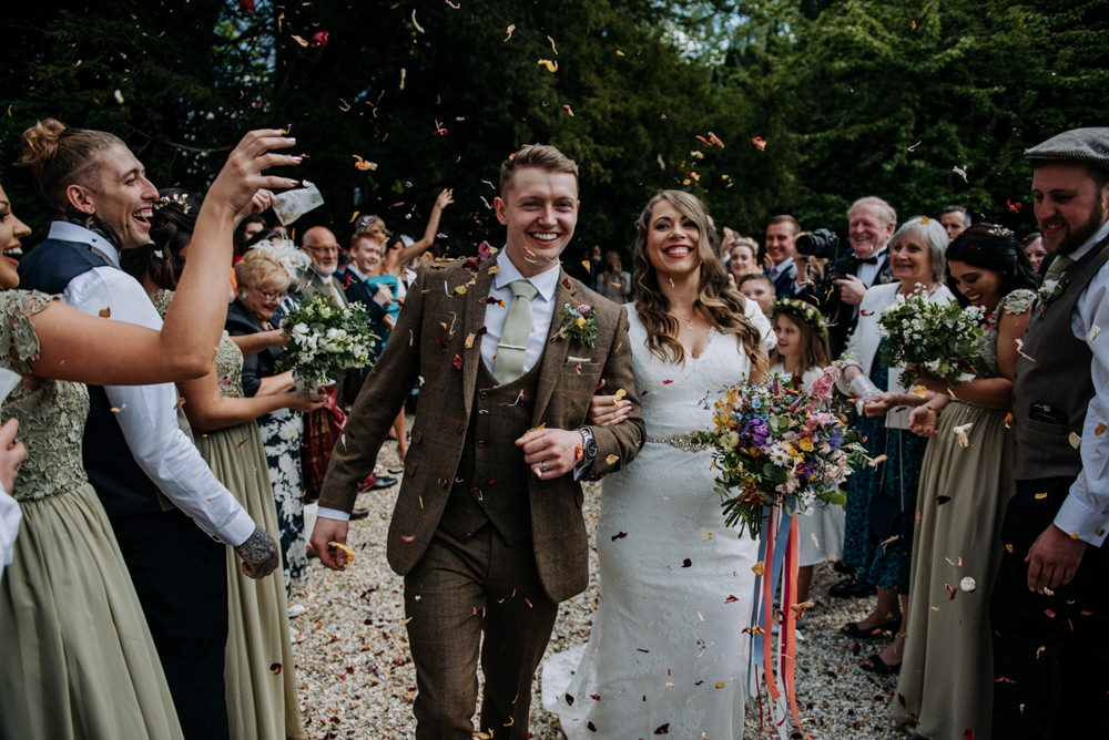 Confetti Hirst Priory Wedding Kazooieloki Photography