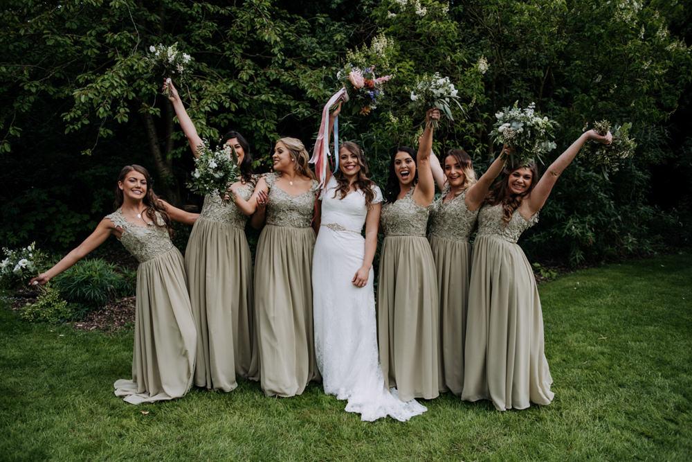 Bridesmaids Bridesmaid Dress Dresses Green Long Hirst Priory Wedding Kazooieloki Photography