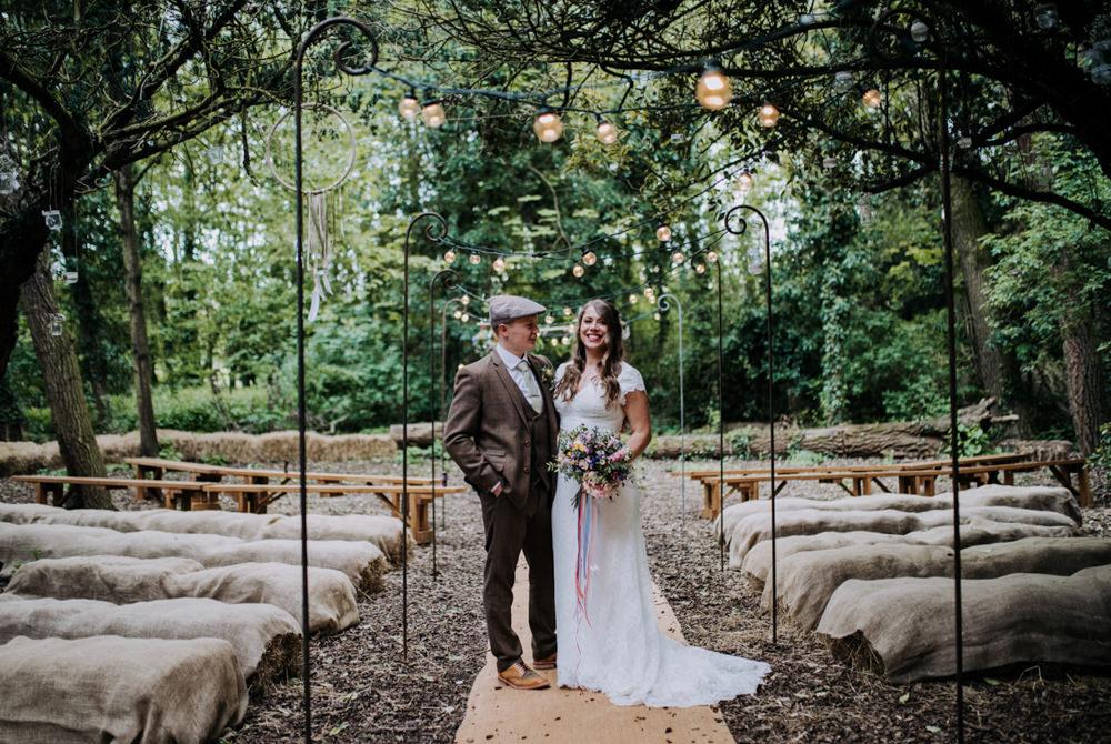 Woodland Ceremony Dreamcatchers Hay Bales Festoon Lights Aisle Hirst Priory Wedding Kazooieloki Photography