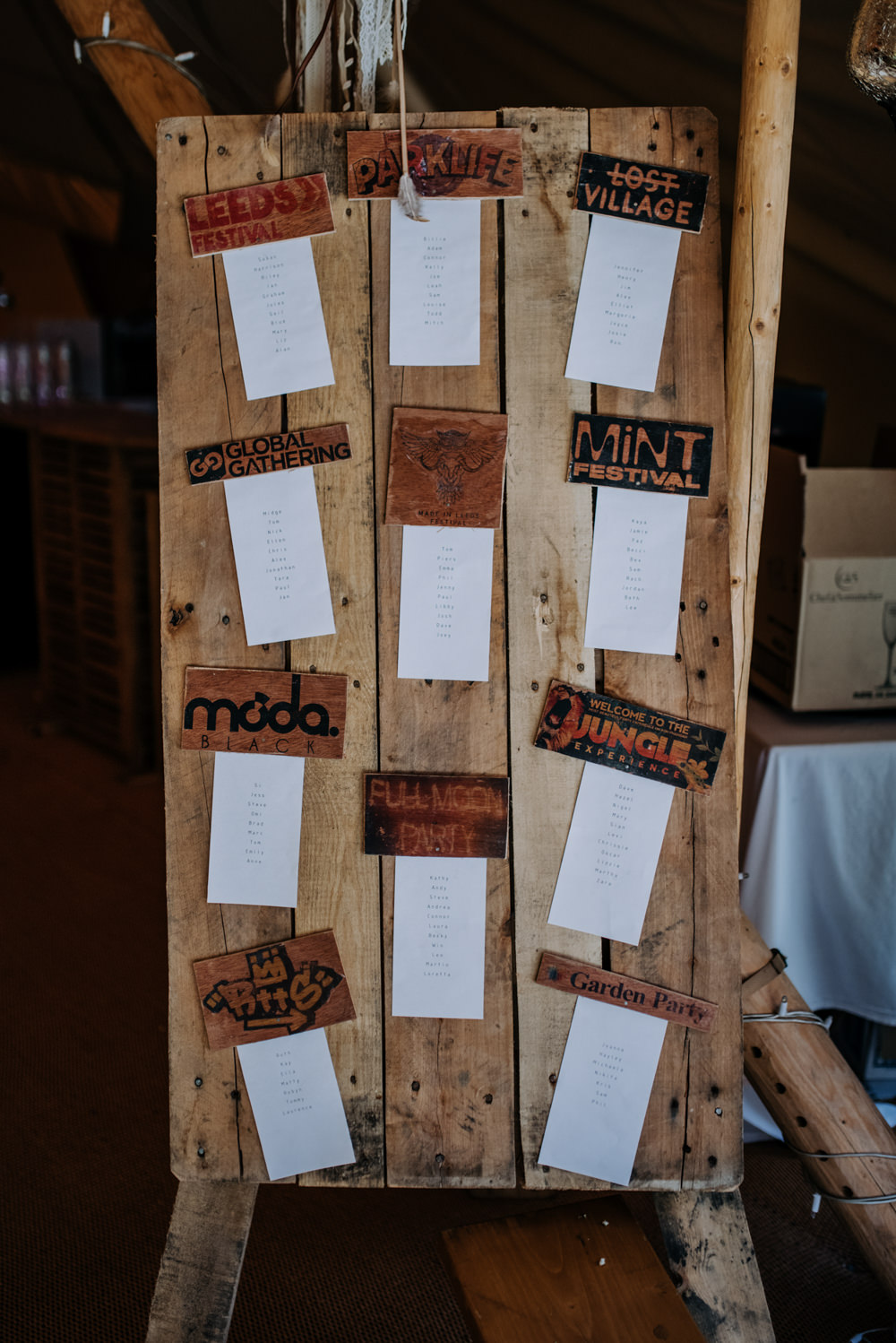 Wooden Seating Plan Table Chart Hirst Priory Wedding Kazooieloki Photography