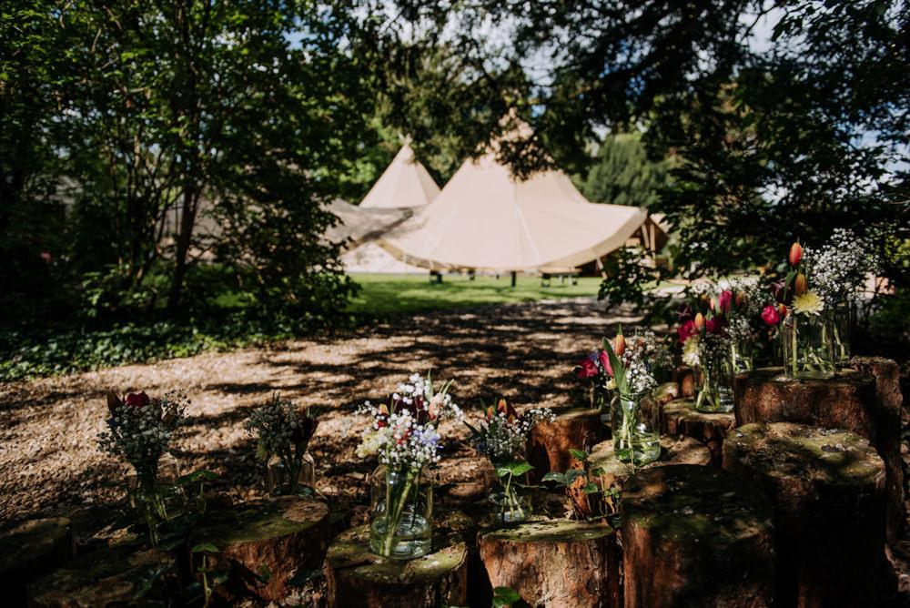 Tipi Woodland Flowers Logs Hirst Priory Wedding Kazooieloki Photography