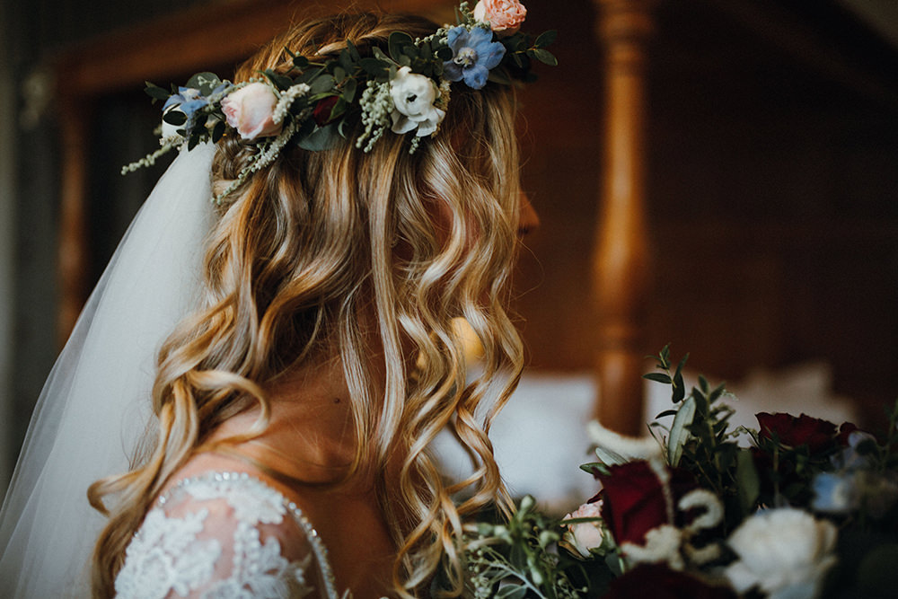 Bride Bridal Loose Waves Flower Crown Veil Inn on the Lake Wedding Leah Lombardi Weddings