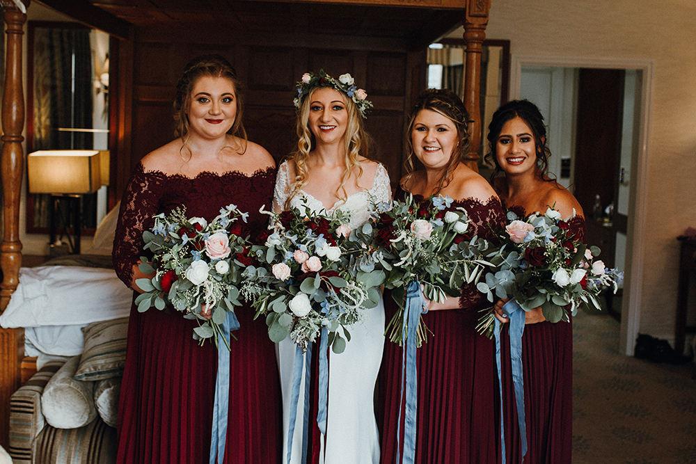 Bride Bridal Long Sleeve Lace Enzoani Dress Gown Bardot Burgundy Bridesmaids Bouquet Inn on the Lake Wedding Leah Lombardi Weddings