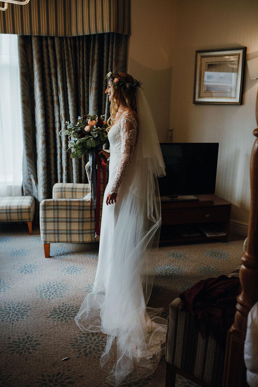 Bride Bridal Long Sleeve Lace Dress Gown Flower Crown Veil Bouquet Inn on the Lake Wedding Leah Lombardi Weddings