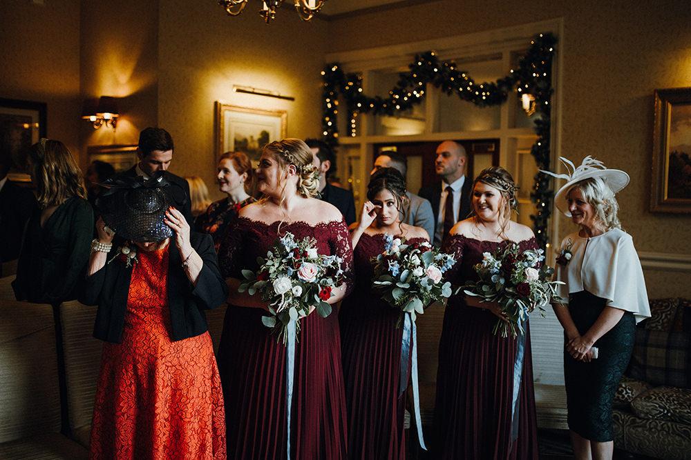 Burgundy Dress Pleats Bardot Bridesmaids Inn on the Lake Wedding Leah Lombardi Weddings