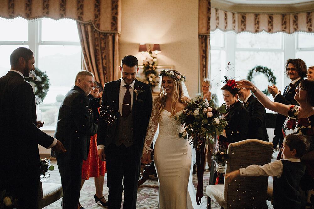 Bride Bridal Sweetheart Neckline Lace Long Sleeve Flower Crown Three Piece Suit Tweed Waistcoat Groom Confetti Bouquet Inn on the Lake Wedding Leah Lombardi Weddings