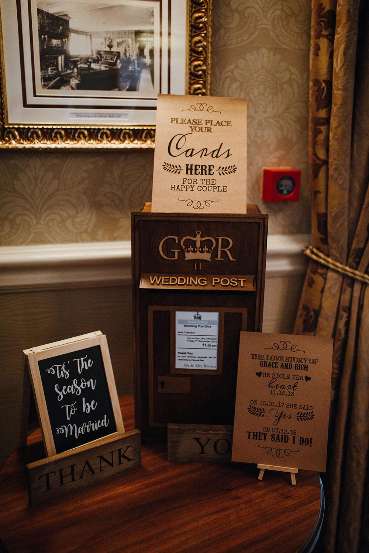 Post Box Wooden Cards Rustic Inn on the Lake Wedding Leah Lombardi Weddings