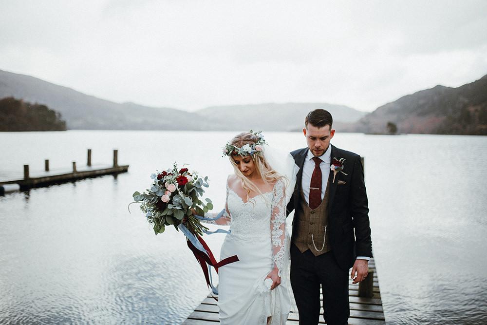 Bride Bridal Sweetheart Neckline Lace Long Sleeve Flower Crown Three Piece Suit Tweed Waistcoat Groom Bouquet Inn on the Lake Wedding Leah Lombardi Weddings