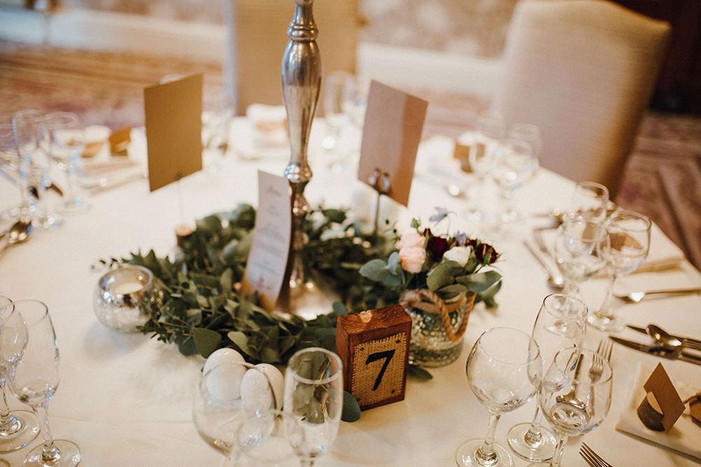 Greenery Foliage Wreath Table Centre Inn on the Lake Wedding Leah Lombardi Weddings