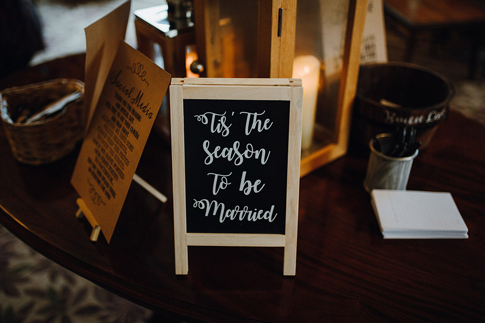 'Tis the Season To Be Married Chalk Board Winter Inn on the Lake Wedding Leah Lombardi Weddings
