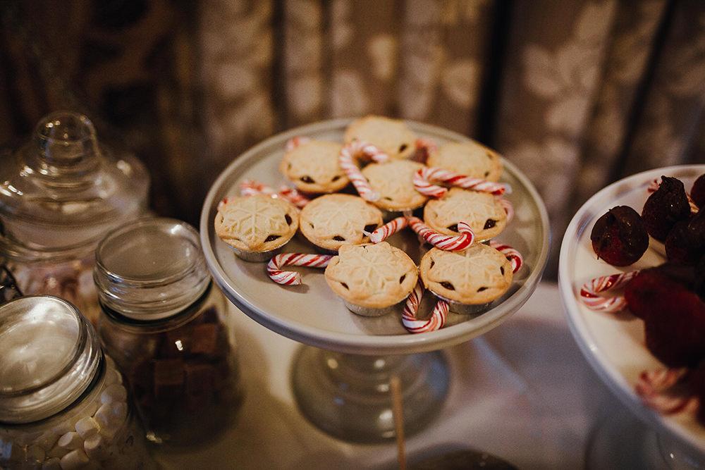 Mince Pie Candy Cane Cake Dessert Table Inn on the Lake Wedding Leah Lombardi Weddings