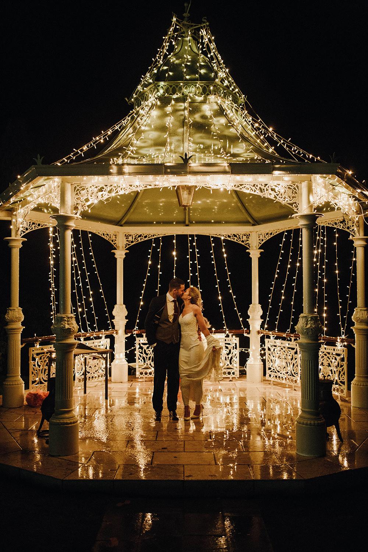 Fairy Lights Bandstand Bride Groom Inn on the Lake Wedding Leah Lombardi Weddings