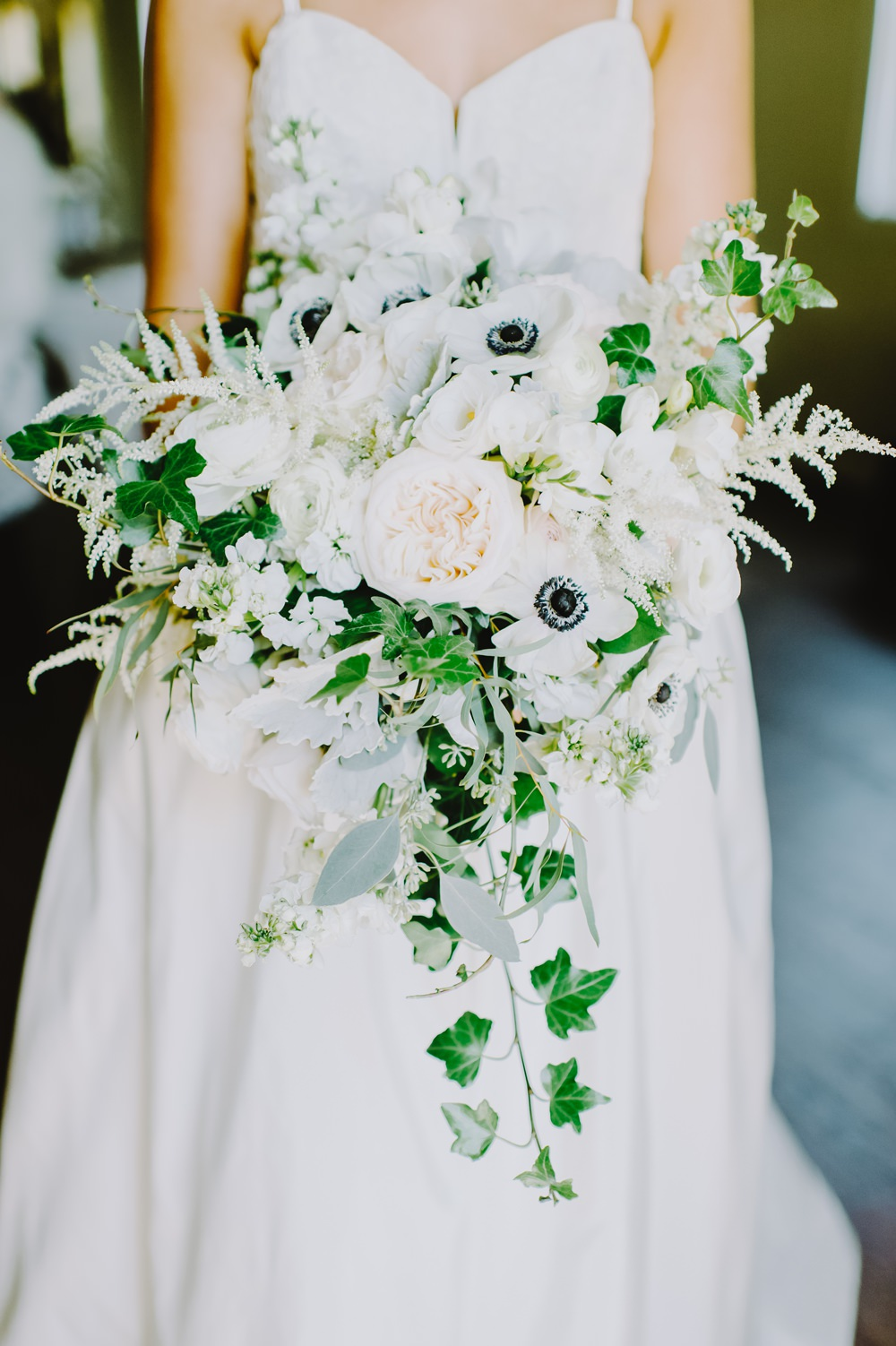 Bride Bridal Bouquet Flowers Peony Astilbe Ivy Anemone Maryland Wedding L. Hewitt Photography