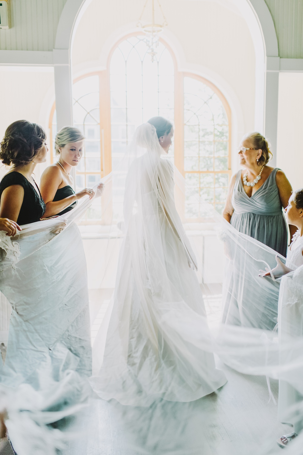Dress Gown Bride Bridal Princess Straps Veil Train Maryland Wedding L. Hewitt Photography