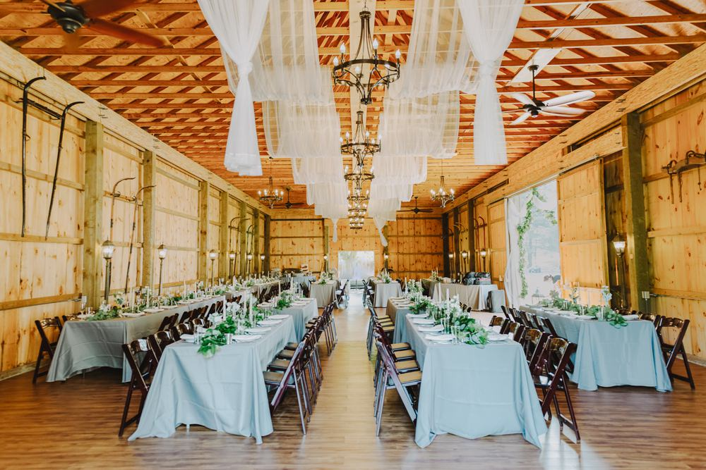 Barn Long Tables Fabric Drapes Decor Decoration Maryland Wedding L. Hewitt Photography