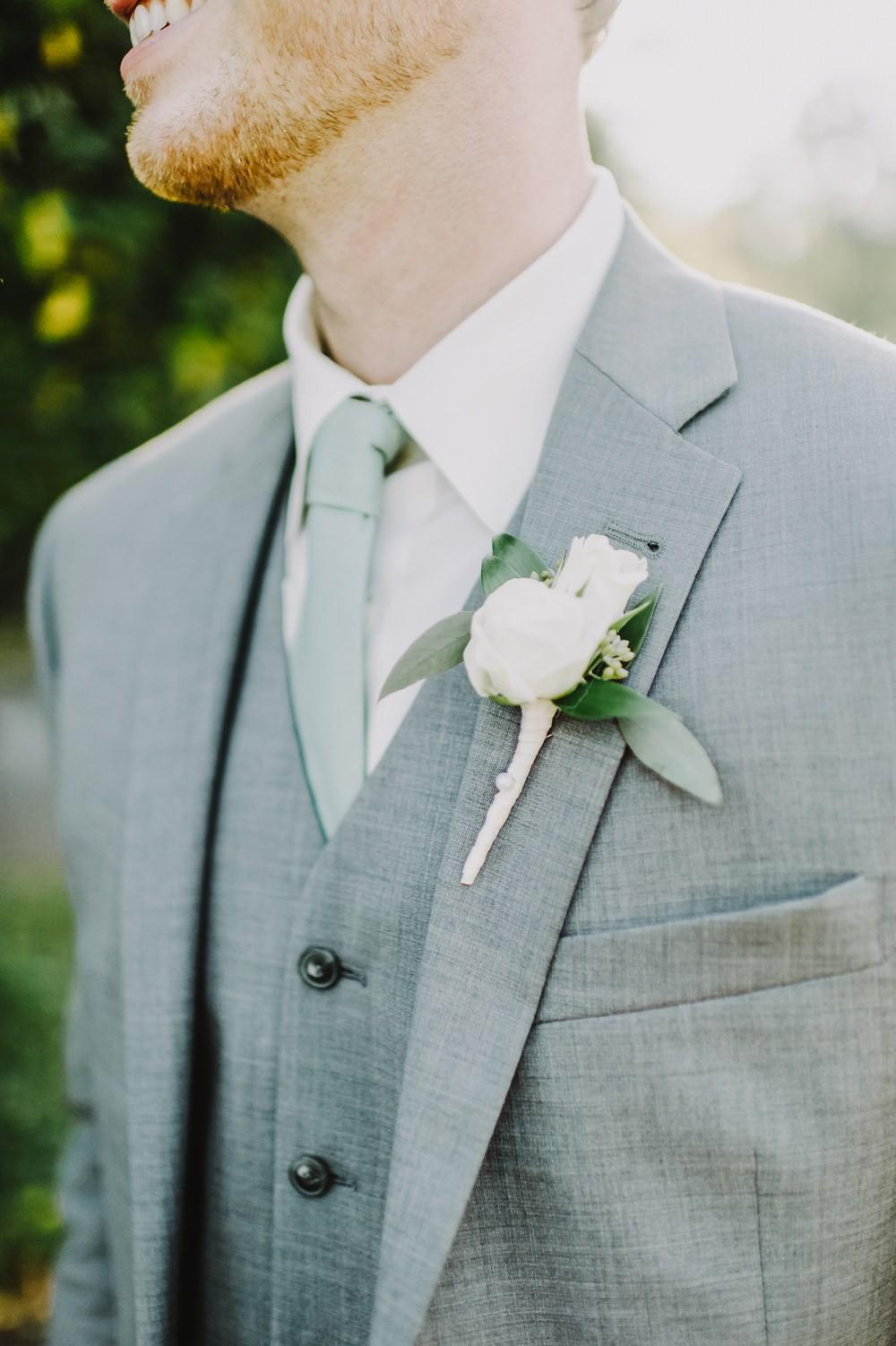 Groom Groomsmen Grey Suits Ties Green Buttonhole Maryland Wedding L. Hewitt Photography