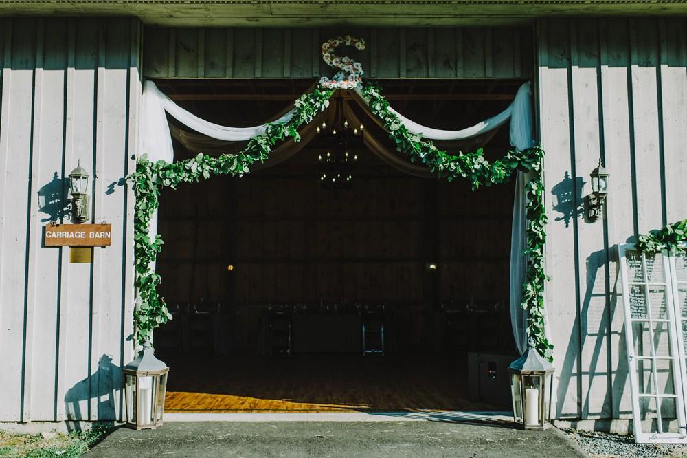 Barn Door Greenery Drapes Maryland Wedding L. Hewitt Photography