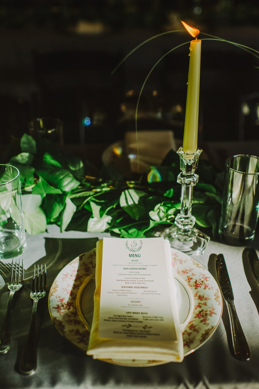 Place Setting China Plates Candles Greenery Maryland Wedding L. Hewitt Photography