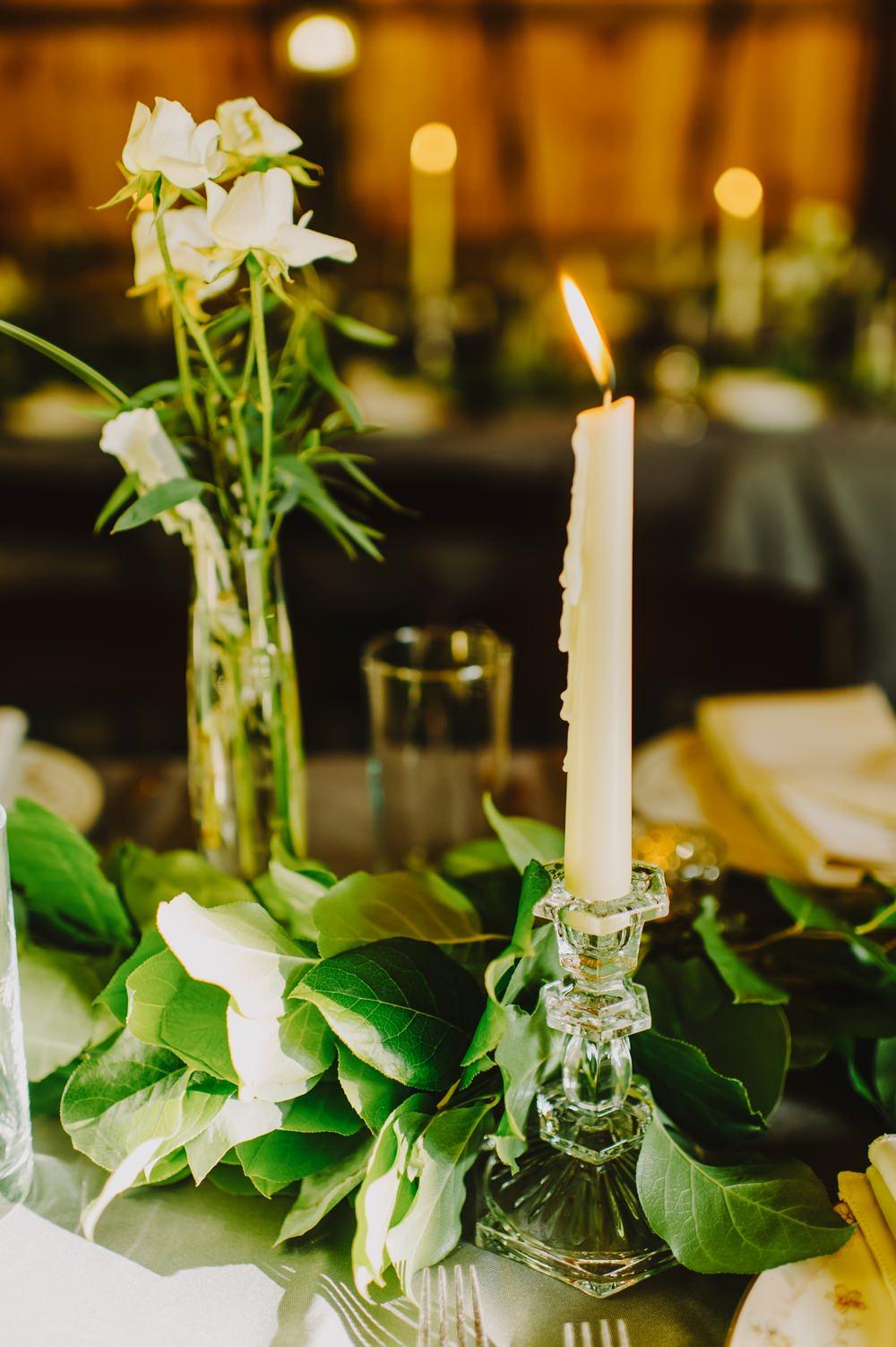 Candles Decor Greenery Foliage Maryland Wedding L. Hewitt Photography