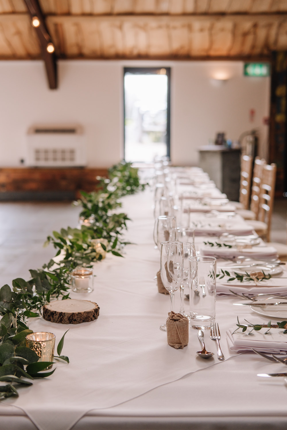 Long Tables Greenery Runner Foliage Decor Owen House Wedding Barn Nessworthy Photography