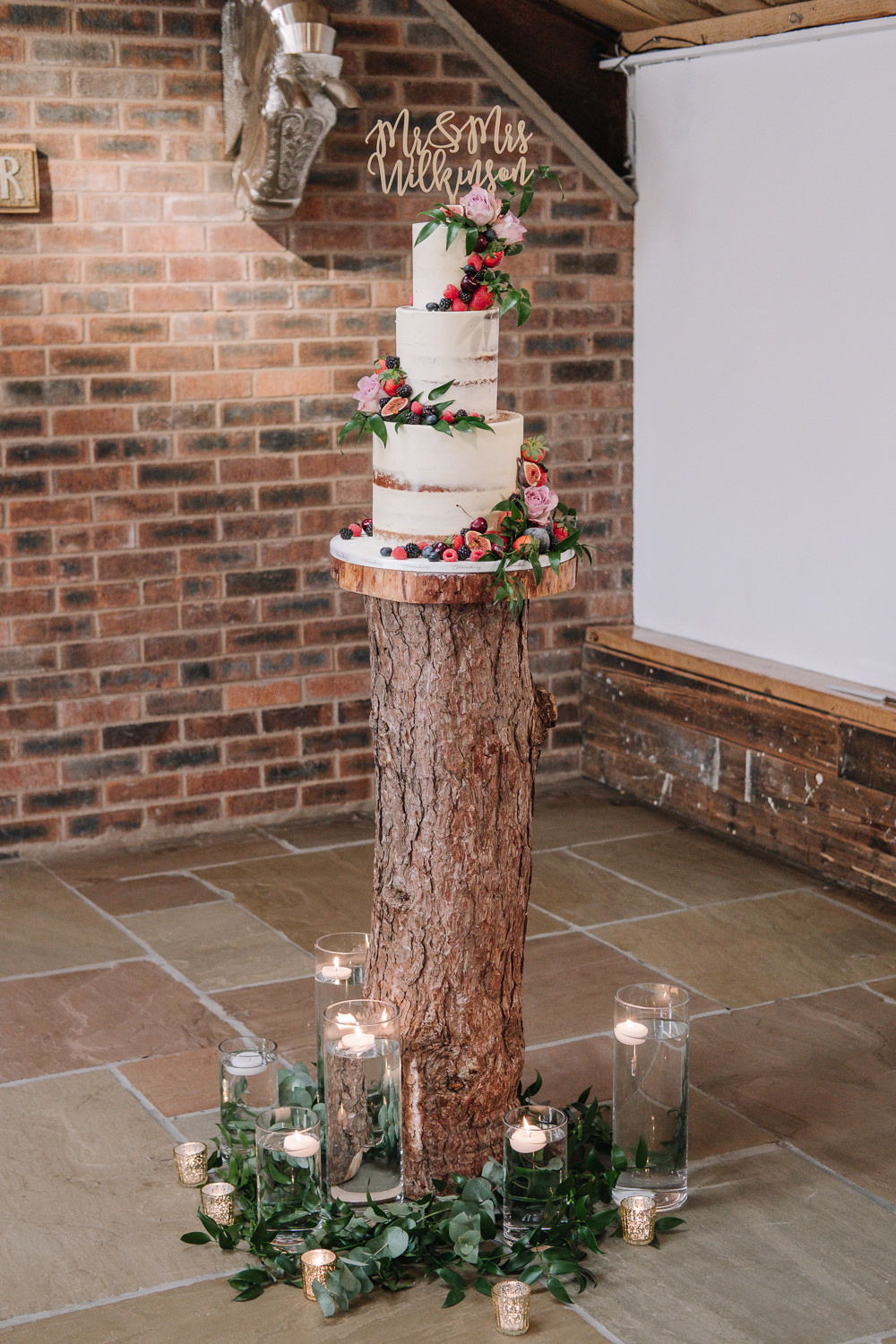 Tree Branch Log Cake Stand Candles Table Owen House Wedding Barn Nessworthy Photography