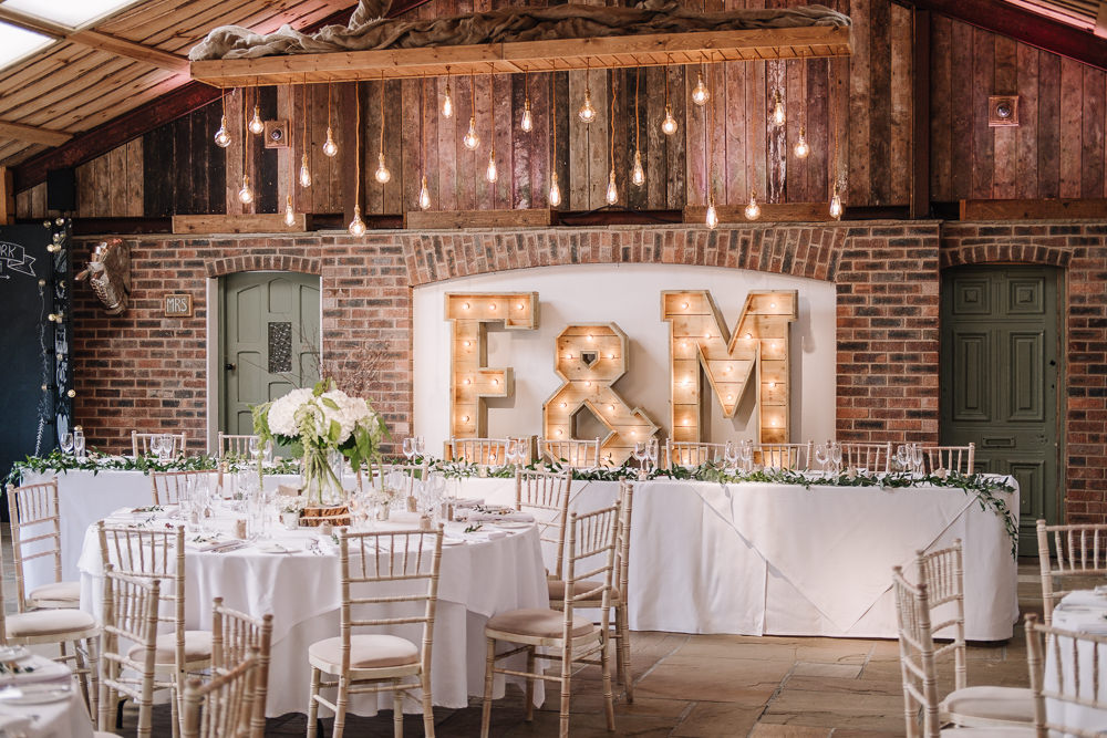 Light Up Letters Lighting Owen House Wedding Barn Nessworthy Photography