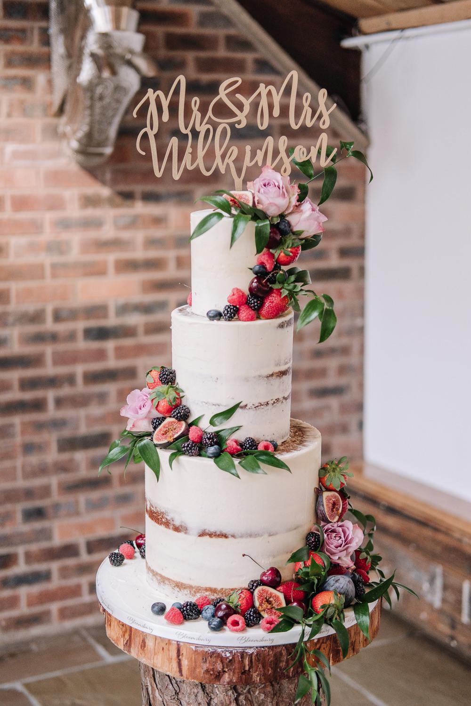 Semi Naked Cake Buttercream Flowers Topper Owen House Wedding Barn Nessworthy Photography
