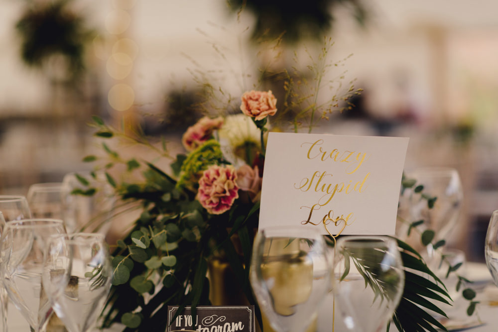 Gold Calligraphy Table Name Romantic Elegant Wedding MIKI Studios