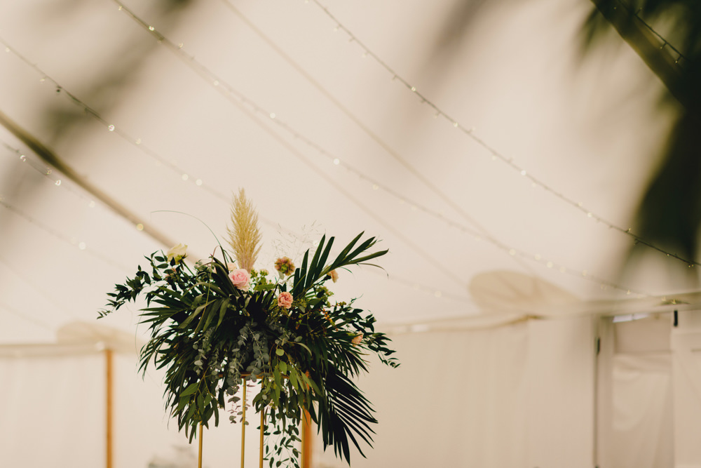 Tall Centrepiece Flower Arrangement Greenery Pampas Grass Romantic Elegant Wedding MIKI Studios