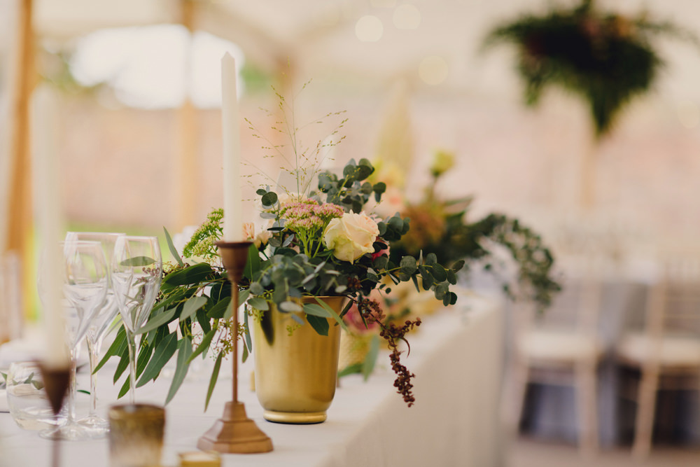 Gold Vase Flowers Greenery Rose Romantic Elegant Wedding MIKI Studios