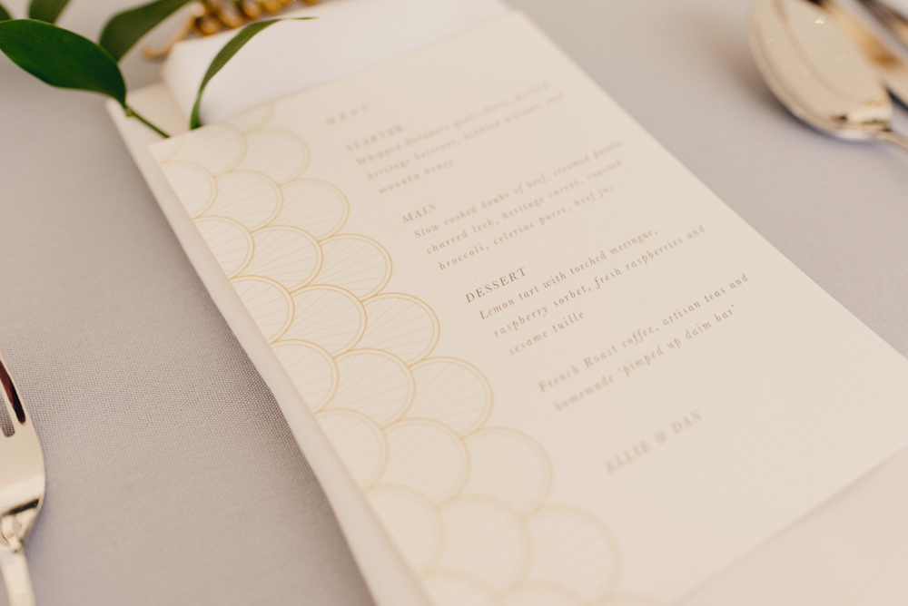 Gold Stationery Menu Romantic Elegant Wedding MIKI Studios