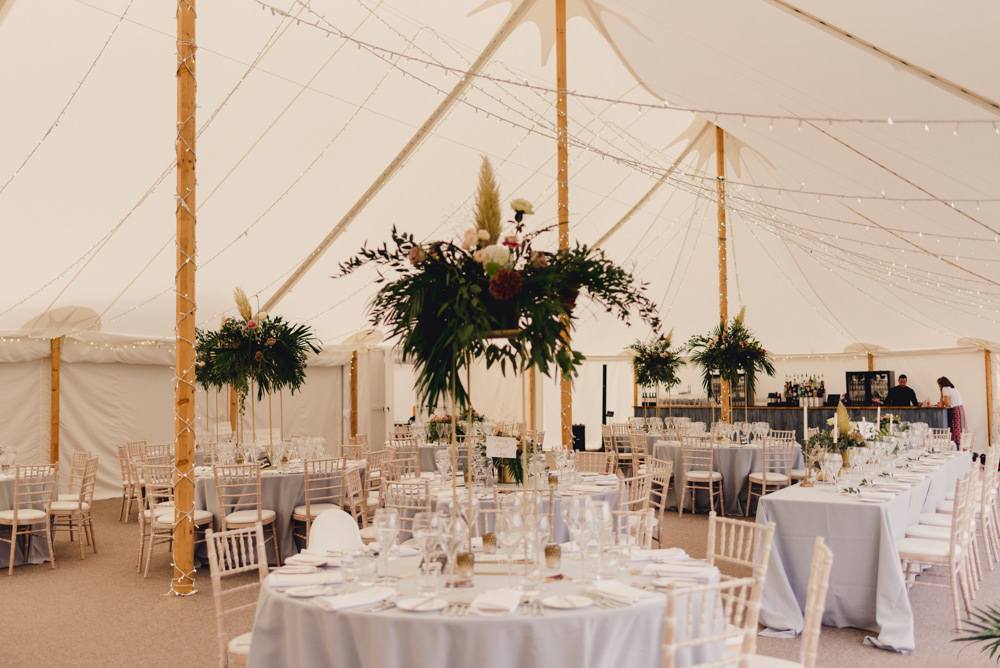 Tall Centrepiece Flower Arrangement Greenery Pampas Grass Sperry Tent Marquee Romantic Elegant Wedding MIKI Studios