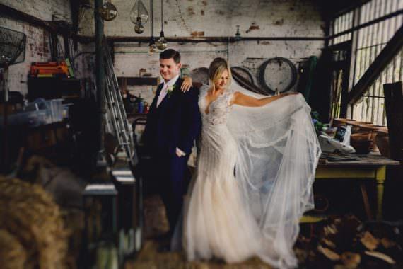 Bride Bridal Dress Gown Lace Fishtail Tulle Veil Romantic Elegant Wedding MIKI Studios