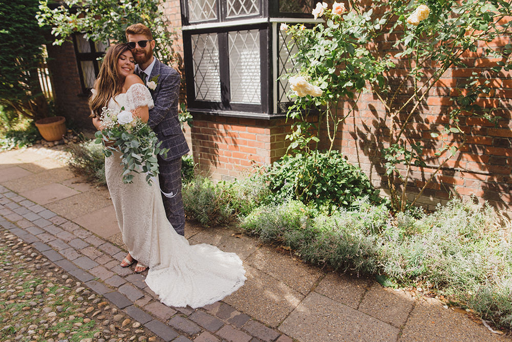 Bride Bridal Dress Gown Off Shoulder Bardot Lace Train Rye Wedding Rebecca Douglas Photography