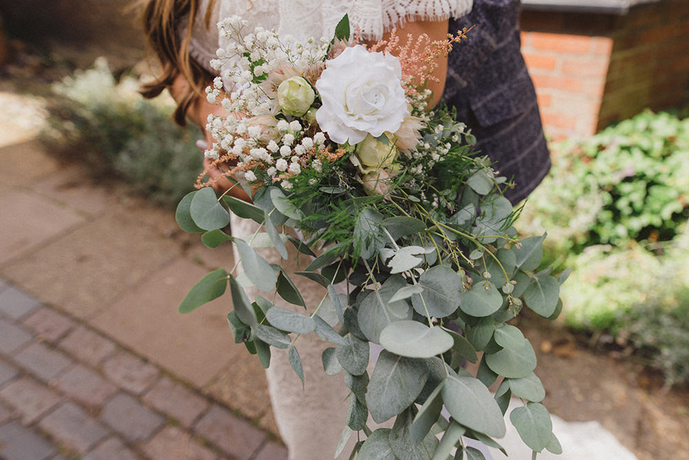 Bouquet Flowers Bride Bridal Eucalyptus Rose Greenery Foliage Rye Wedding Rebecca Douglas Photography
