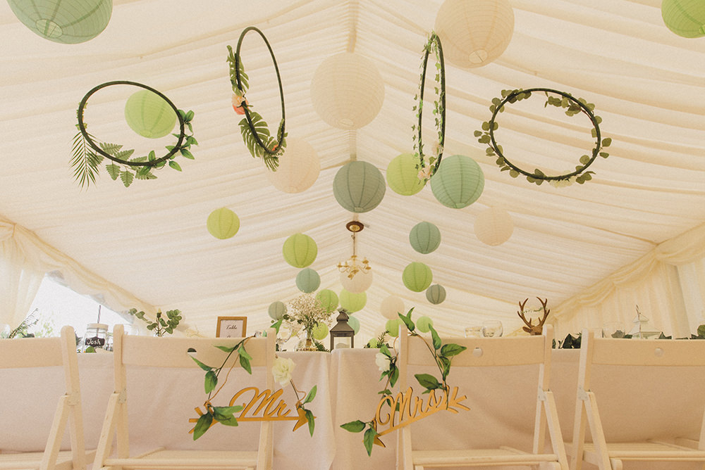 Marquee Decor Decoration Lanterns Green Hoops Greenery Rye Wedding Rebecca Douglas Photography