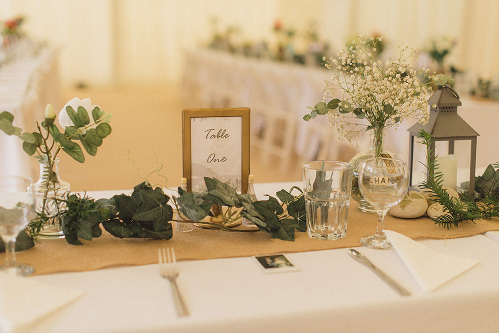Hessian Greenery Foliage Tables Decor Rye Wedding Rebecca Douglas Photography