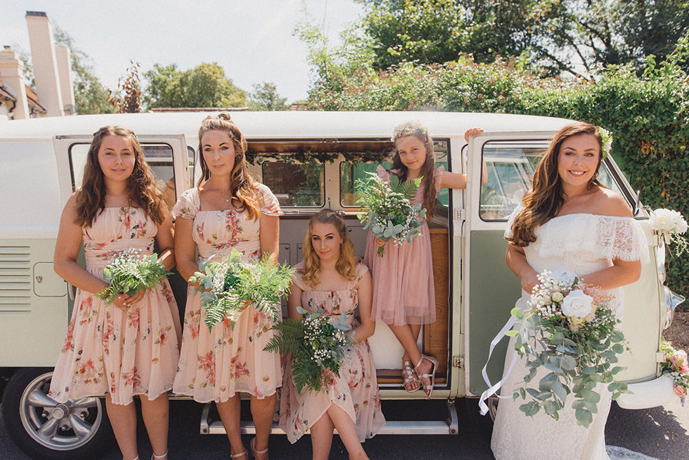 Bridesmaid Bridesmaids Dress Dresses Pink Floral VW Campervan Rye Wedding Rebecca Douglas Photography