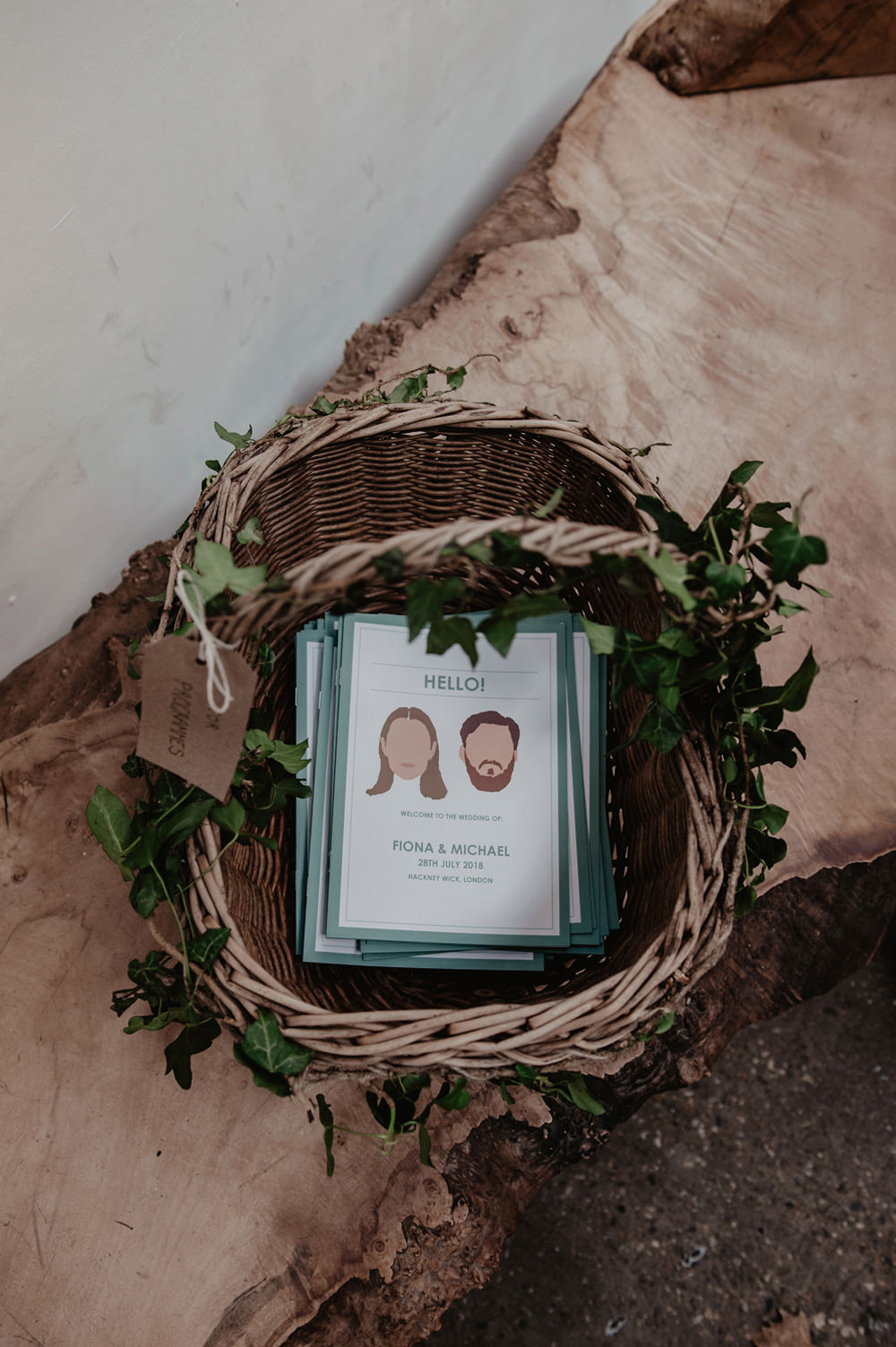 Stationery Order of Service Faces Bride Groom Couple Stour Space Wedding Anne Schwarz Photography