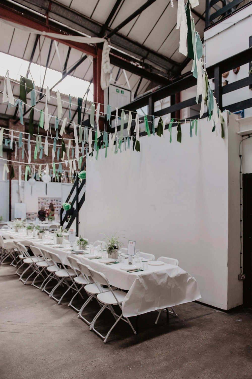 Green Ribbon Rag Bunting Long Tables Stour Space Wedding Anne Schwarz Photography