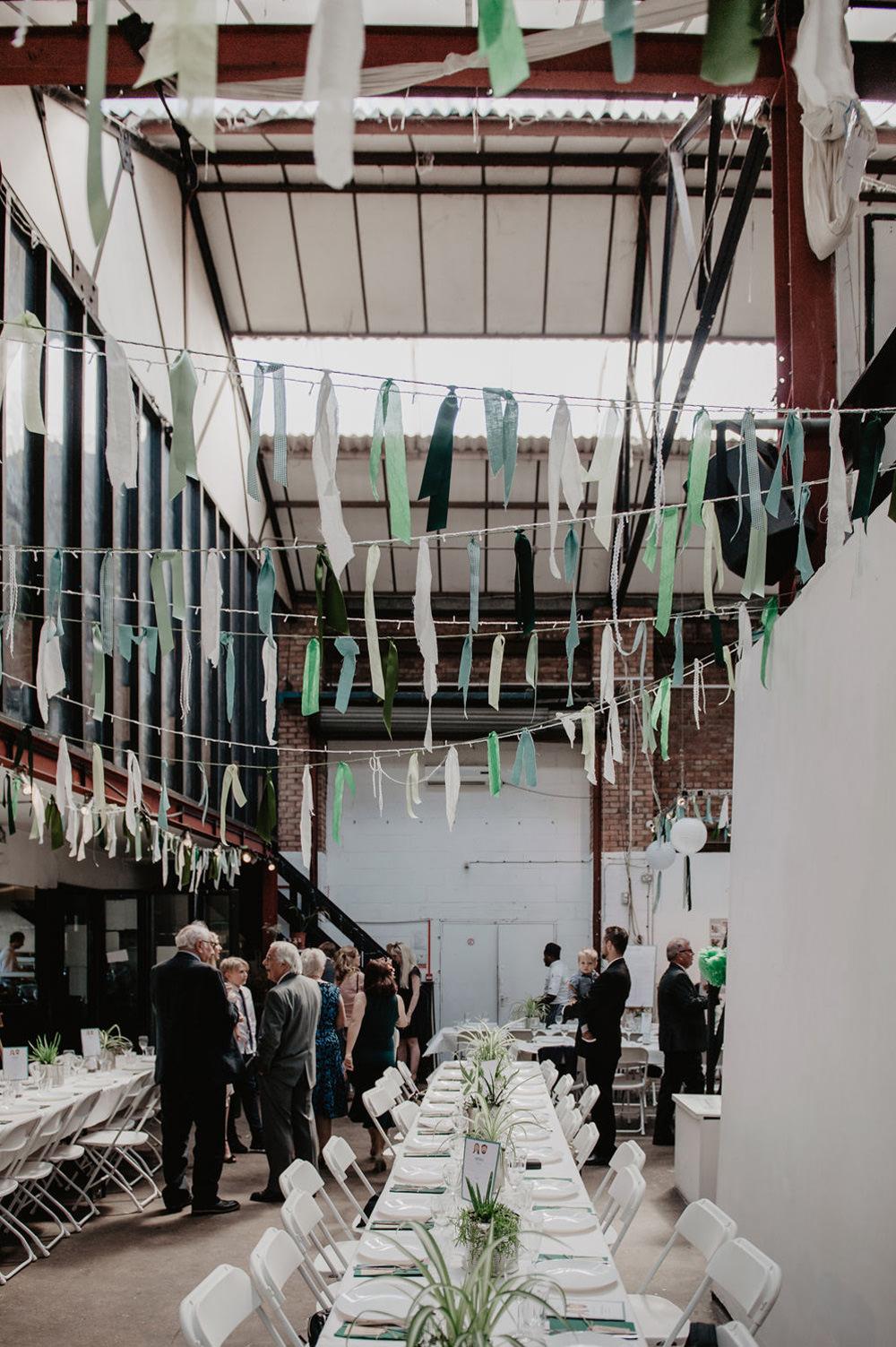 Green Ribbon Rag Bunting Lanterns Stour Space Wedding Anne Schwarz Photography