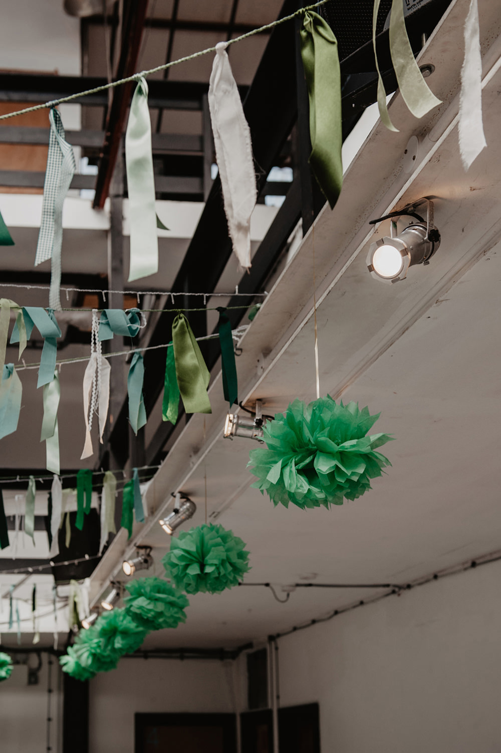 Green Ribbon Rag Bunting Pom Poms Stour Space Wedding Anne Schwarz Photography