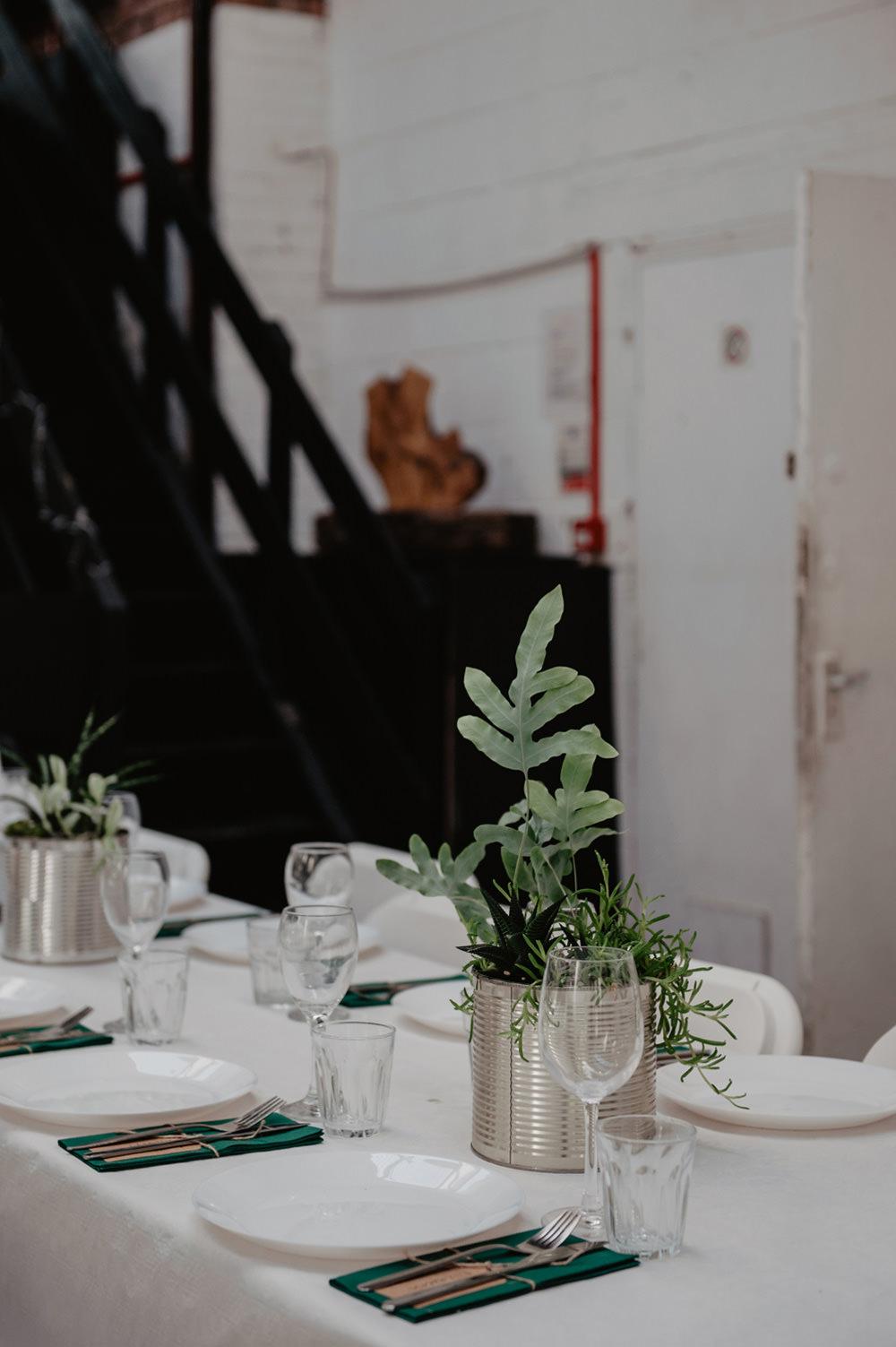Cactus Cacti Succulent Tin Can Centrepiece Decor Table Stour Space Wedding Anne Schwarz Photography