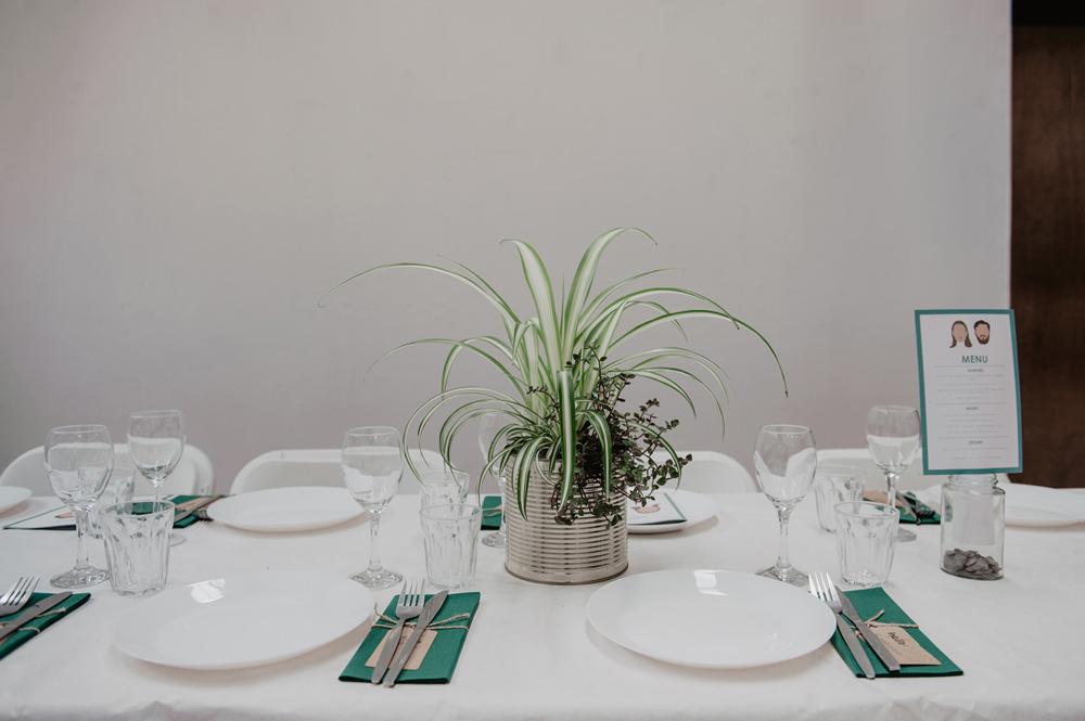 Pot Plant Tin Can Centrepiece Decor Table Stour Space Wedding Anne Schwarz Photography