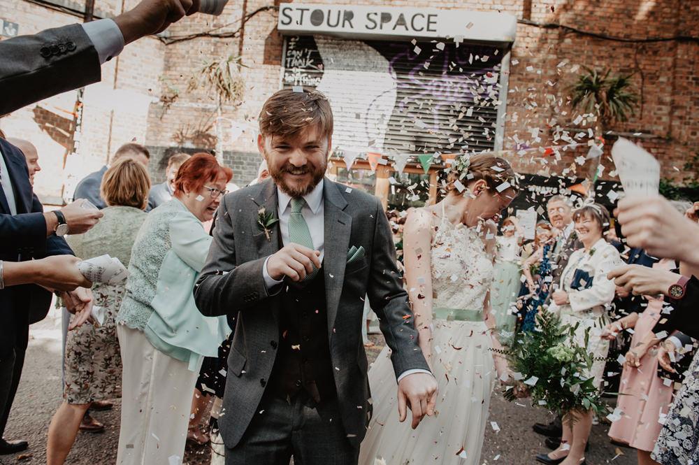 Confetti Stour Space Wedding Anne Schwarz Photography